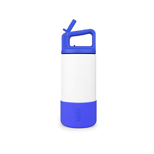 MiiR Vacuum Insulated Stainless Steel Kids Bottle with Straw Lid and Leak Resistant Design with Silicone Boot - 12oz - White/Blue