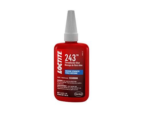 Loctite 1330906 Threadlocker 243 Surface Insensitive-Medium Strength Bottle, Blue, 36-ml