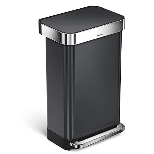 simplehuman 45 Liter / 12 Gallon Stainless Steel Rectangular Kitchen Step Trash Can with Liner...