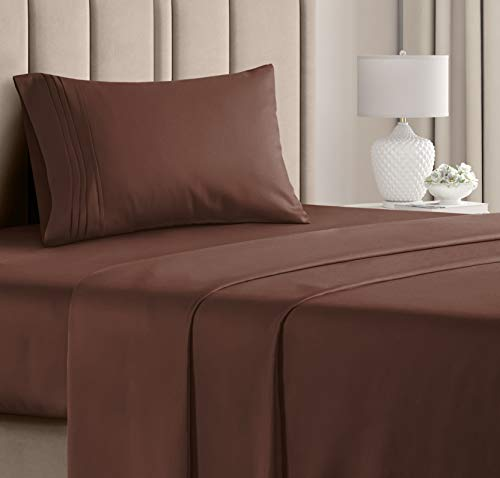 Twin Size Sheet Set - 3 Piece Set - Hotel Luxury Bed Sheets - Extra Soft - Deep Pockets - Easy Fit - Breathable & Cooling - Wrinkle Free - Comfy – Brown Chocolate Bed Sheets – Twins Sheets - 3 PC