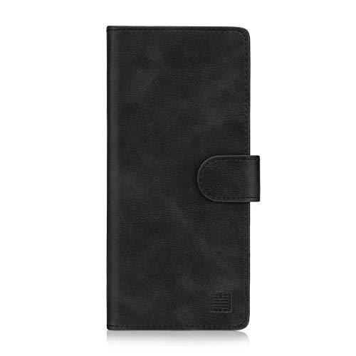 32nd Essential Series - PU Leder Mappen Hülle Flip Case Cover für Samsung Galaxy S10 Plus, Ledertasche hüllen mit Magnetverschluss & Kartensteckplatz - Schwarz