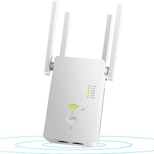 Lvozize Ripetitore WiFi Wireless,1200Mbps Amplificatore Segnale 5GHz/2.4GHz Wi-Fi Range Extender WiFi Repeater,modalità AP/Repeater/Router, 4 Antenne,Compatibile con Modem Fibra e ADSL
