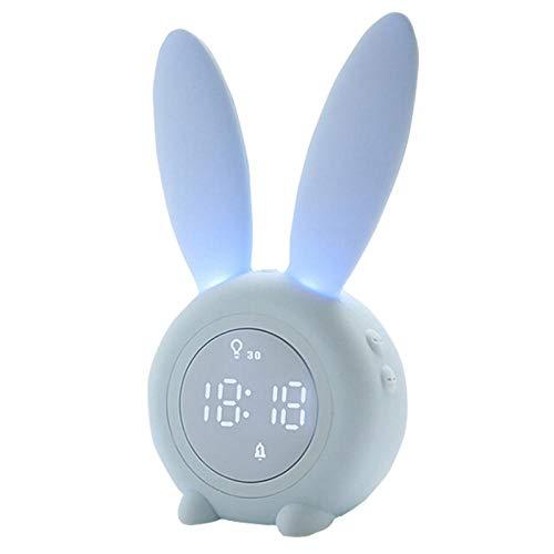 FPRW nachtlampje, oplaadbaar, voor kinderen, timer, spraakbediening, met wekker van konijntjes in de vorm van een digitale comic, slaaptrainer voor kinderen, blauw