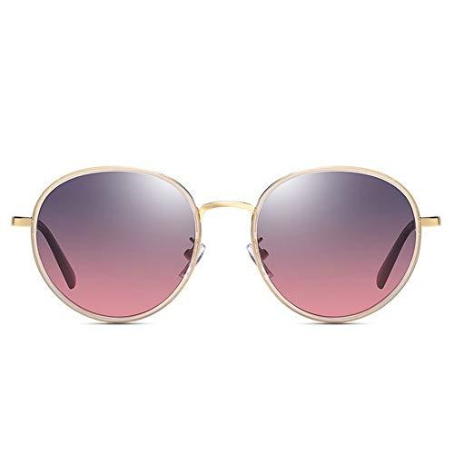 QCSMegy Gafas de Sol Nuevas Gafas De Sol Polarizadas for Mujer De Moda con Montura Redonda Transparente Gafas De Conducción Retro Clásico UV400 Protección Gris Degradado Rojo Lente
