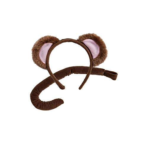 Wicked Costumes Childrens Animal Ears Headband & Tail Set Fancy Dress Party Accessoy - Monkey