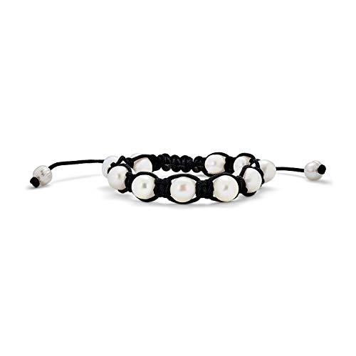 Blanco Aqua Fresca Culturada Perla Barroco Shamballa Inspirado para Mujer Brazalete Ajustable Cadena Cordón Negro.