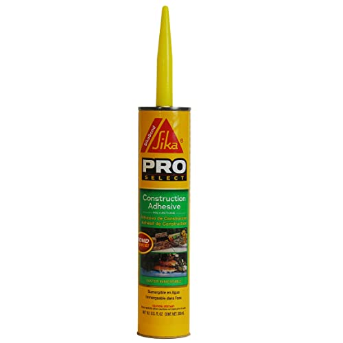 SikaBond Construction Adhesive, Gray, Advanced polyurethane for outdoor. Water immersible & waterproof, 10.1 fl.oz