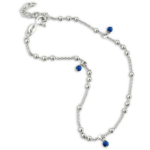 SilberDream SDF5035B - Tobillera para mujer (25 cm, plata 925), color azul y plateado