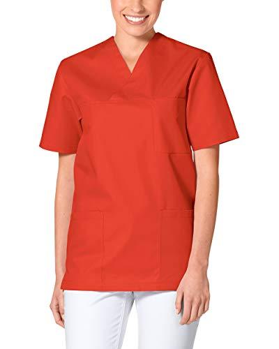 CLINIC DRESS Schlupfkasack - Kasack Damen und Herren bunt für Pflege und Altenpflege, Kurzarm und Brusttasche, 95 Grad Wäsche mandarinrot XL