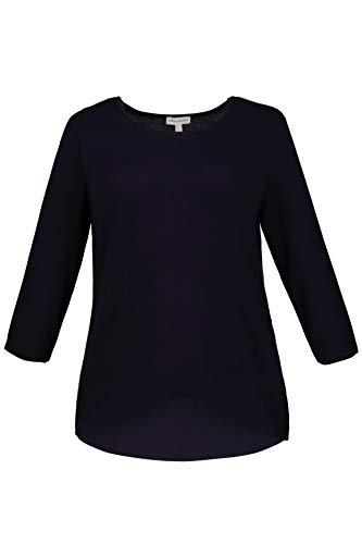 GINA LAURA Damen bis XXL | Basic-Shirt | Wickeloptik, Lagenlook | 3/4-Arm | Rundhals | Nachtblau XL 716537 76-XL