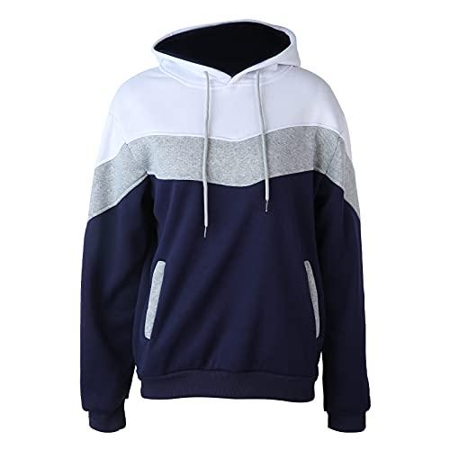 Sudadera deportiva con capucha y cremallera para hombre, ajuste holgado, manga larga, con 2 bolsillos, blanco, XXL