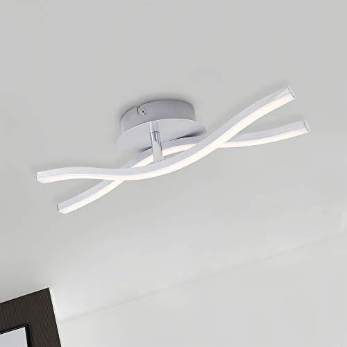 Briloner Leuchten LED Deckenleuchte, Deckenlampe 2-flammig, 12 Watt, 960 Lumen, 3.000 Kelvin, Aluminiumfarbig, 370x120x83mm (LxBxH), W, Aluminium Farbig