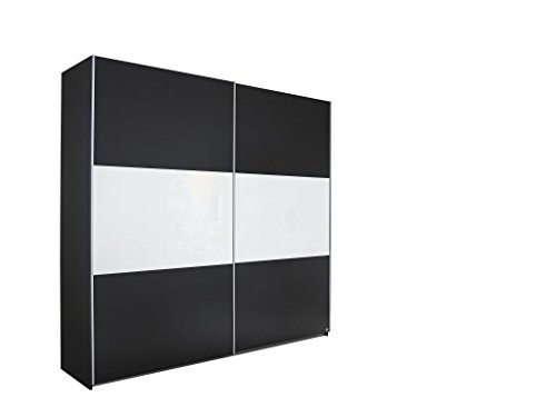 Schwebetürenschrank LORIGA Breite 175 cm grau-metallic / weiß