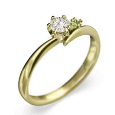ペリドット 天然ダイヤモンド 18金イエローゴールド 婚約指輪 レディース 8.5号