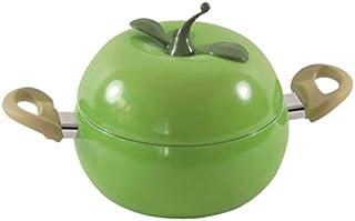 SODIAL Cocina de InduccióN de Acero Inoxidable, Olla de Sopa Universal, Olla de Estofado, Olla de Fideos InstantáNeos, Olla de Sopa de Oreja Doble para Utensilios de Cocina, Manzana Verde