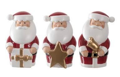 Leonardo - Clause - Dekofiguren, Figuren - Nikolaus, Weihnachtsmann - Höhe: 11 cm - Keramik - 3er Set