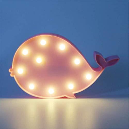 MTX Ltd Lumière de Nuit Ins Rose Baleine Lampe Fille Coeur Chambre Décoration Lampe Set Props Lampe de Table Peut Être Créatif Night Light LED Lumières Décoratives
