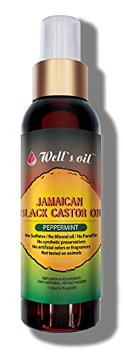 Well's Jamaican Black Castor Oil Original, Peppermint, Tea Tree, Rosemary Spray 4oz INCREASE HAIR GROWTH/THICKEN HAIR THAT IS STARTING TO THIN OUT REDUCE AND PREVENT HAIR DAMAGE (PEPPERMINT)