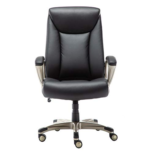 AmazonBasics Bonded Leather Big & Tall Executive Office Computer Desk Chair, 350-Pound Capacity - Black