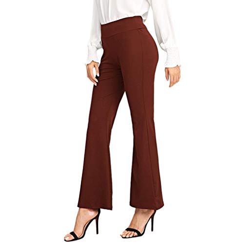 Mikey Store Women's Summer Sexy Ladies Slim Elastic High Waist Office Solid Business Bootcut Yoga Stretch Wide Leg Pants Wine Red