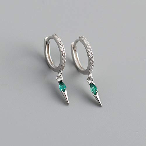 925 Sterling Silver Hoop Earrings,Silver Inlaid Circle White Zirconia Green Teardrop Fashion Punk 925 Sterling Silver Ring Hinge Earring Charm Hypoallergenic Jewelly Gift For Men Lady Girlfriend
