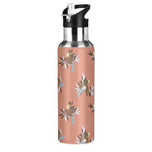 Botella de agua de acero inoxidable con mango de pajita lindos osos...
