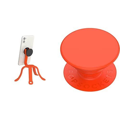 PopSockets: PopMount 2 Flex - Soporte y Tripod de Silicona Flexible Sin Adhesivo, Naranaja (Tangerine) + Soporte y Agarre para Teléfonos Móviles y Tablets, Naranaja (Neon Electric Orange)