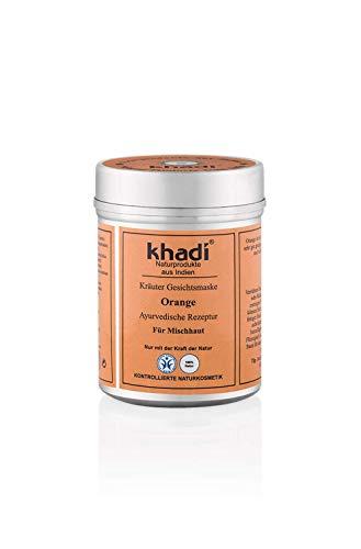 khadi Gesichtsmaske mit Orangen 50g I Ayurvedische Hautpflege für Mischhaut I Kräuter Feuchtigkeitspflege aus Orangenöl und Orangenschalen I Naturkosmetik 100% pflanzlich