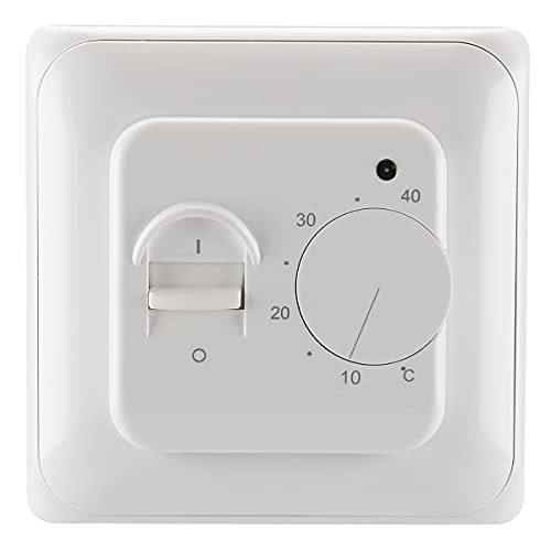 Baomain Home Nonprogrammable Thermostats, Radiant Floor Heating Temperature Manual Controller 110-120V AC 16A 4 Wire