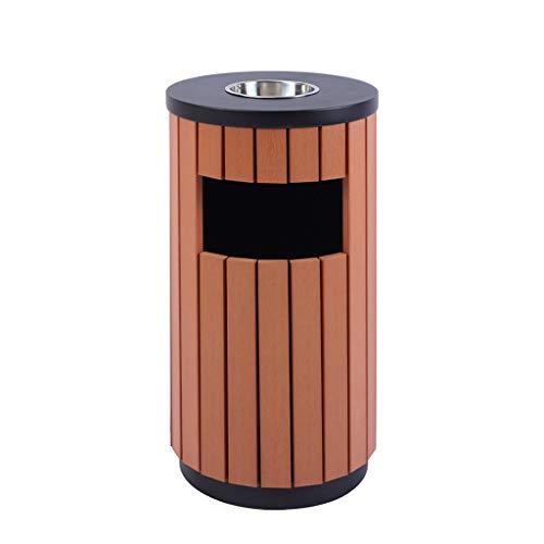 Cubos de Basura para Exterior La basura cubierta exterior papelera de madera maciza de Cenicero contenedores de reciclaje de lata redonda de Park Street Peel papelera de reciclaje Basura y reciclaje C