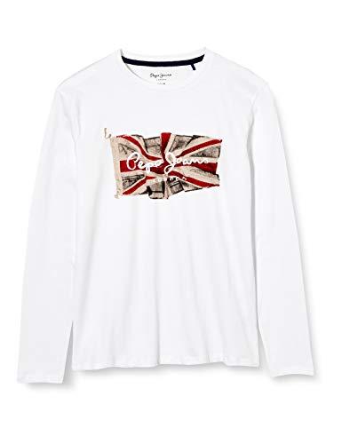 Pepe Jeans Flag Logo JR Camiseta, Blanco (Optic White 802), 15-16 años (Talla del Fabricante: 15/16 años) para Niños
