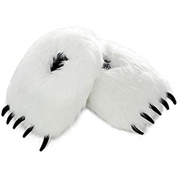 Ibeauti Fuzzy Bear Claw Slippers Animal Paw Polar Bear House Shoes for Women Teens Halloween Christmas Costume Party  White Bear