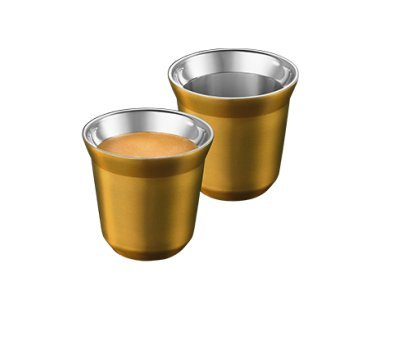 Nespresso Pixie Espresso Volluto 2 Copas de Metal - Dorado