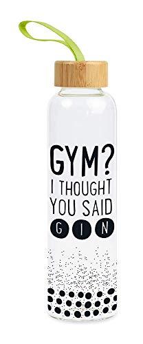 Grafik-Werkstatt Borraccia unisex per adulti in vetro con scritta divertente   con passante per presa   550 ml   Gym, multicolore, media