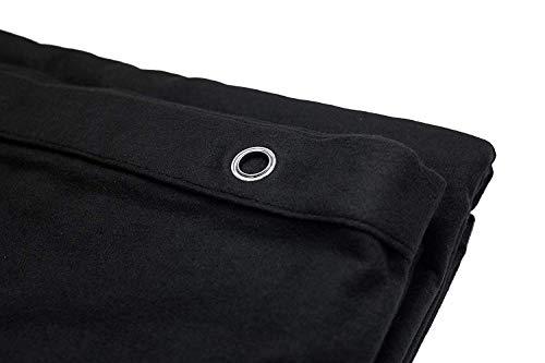 AcousPanel Cortina Acústica de Tejido Opaco Anti Ruido. Dimensiones 1,35 x 2,4 m. Algodón ignífugo Afelpado a Las Dos Caras de 300gr. Color Negro