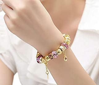 Gold Charm Bracelet for Women With Exquisite Murano Glass Beads DIY Birthday Gift PA1804