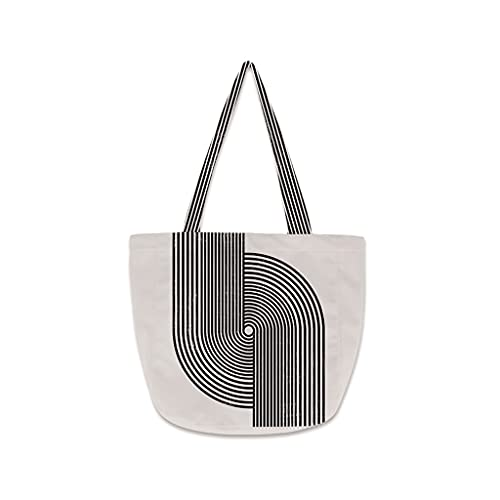 JJH Bolsa de Asas del Hombro Abstracta de la Raya con la Cremallera, Bolso de la Moda de la Moda de Las Mujeres de la Manera de Las Mujeres, 2021 Verano B, tamaño : 45x34cm