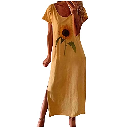 Women Dresses Casual Tie Neck Dress Plus Size Summer Ladies Dress Pink Tie Dye Dress #15 Yellow XX-Large