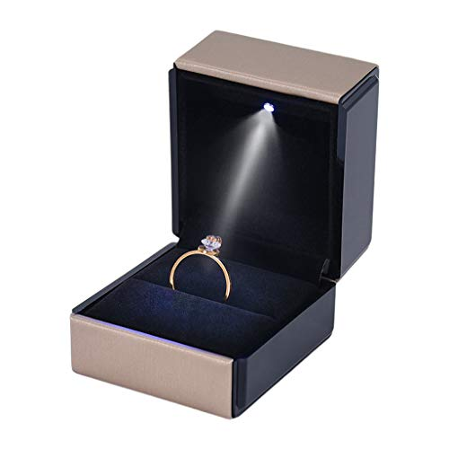 Lowral LED-beleuchtete Geschenkbox für Ohrringe, Ringe, Hochzeit, Verlobung, Schmuck