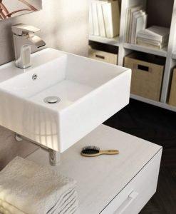 Hangende wastafel Art&Bath boekenkast wit 410 x 410 x 150 cm (meubels niet inbegrepen). Inclusief bevestigingsset.