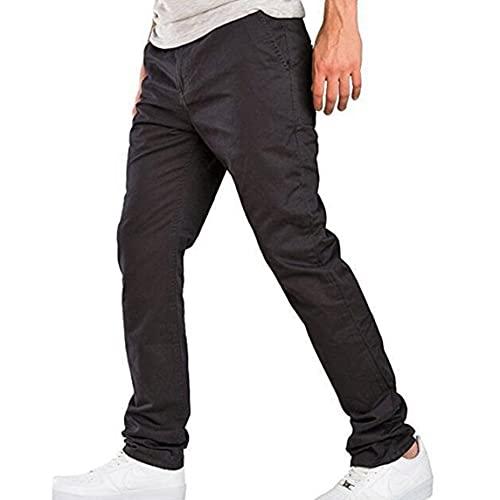 Hommes Loisirs Casual Business Pantalons Droits Pantalons à Fermeture à glissière Pantalons Longs de Couleur Pure Pantalons de Travail à Jambe Droite Coupes régulières - Noir 2XL