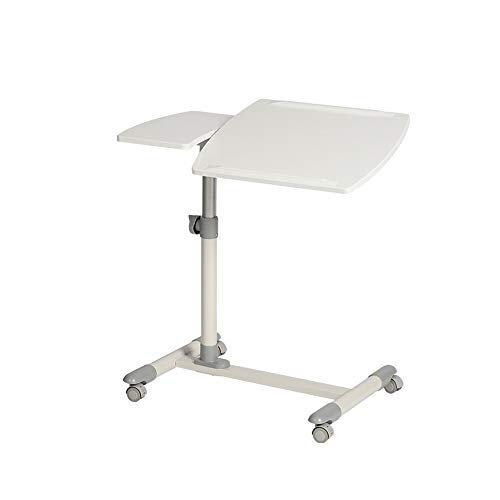 Jtoony Mobile Laptop Desk Tilting Sit-Stand Height Adjustable Mobile Laptop Computers Desk Cart With Mouse Side Ergonomic Tables Computer Stand Desk (Color : White, Size : One size)