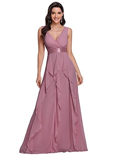 Ever-Pretty Honor 0103 - Vestito lungo da donna, con volant, scollo a V, senza maniche, in chiffon, abito da damigella, Orchidea, 52