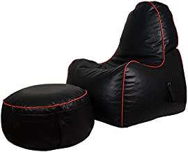 كرسي بين باج لألعاب الأطفال من ريلاكسيت مع مسند للقدم - أسود/أحمر