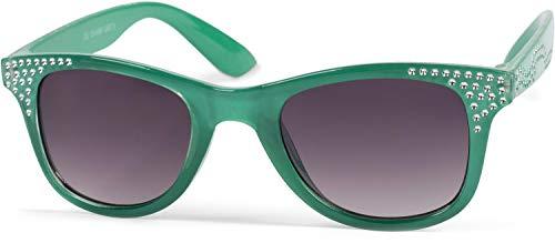 styleBREAKER gafas de sol «nerd» de niña con piedras de estrás, montura de plástico y lentes planas de policarbonato, patillas de plástico, niños 09020087, color:Marco verde/vidrio gris degradado