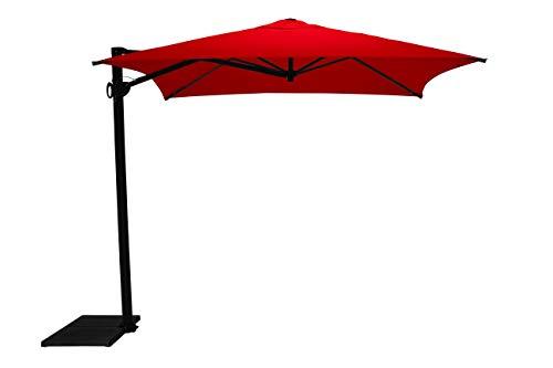 Maffei Art 137q Kronos Parasol deporté carré cm 250x250, Tissu PolyMa. Made in Italy. Couleur Rouge