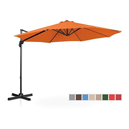 Uniprodo Ombrellone Decentrato Ombrello da Giardino Uni_Umbrella_2R300OR (Arancione, Rotondo, Ø 300 cm, Girevole)