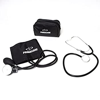 Primacare DS-9197-BK Professional Classic Series Manual Adult size Blood Pressure Kit Emergency Bp kit with Stethoscope and Portable Leatherette Case Nylon Cuff Black