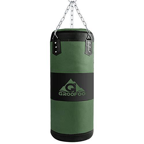 GROOFOO Boxsack Kinder Hochleistungs Oxford Boxsack für Kinder, Jugendliche und Erwachsene, 60CM UNGEFÜLLTE Tasche mit Mount Chain Heavy Duty Pouching Bag für Boxtraining MMA Muay Thai - Grün