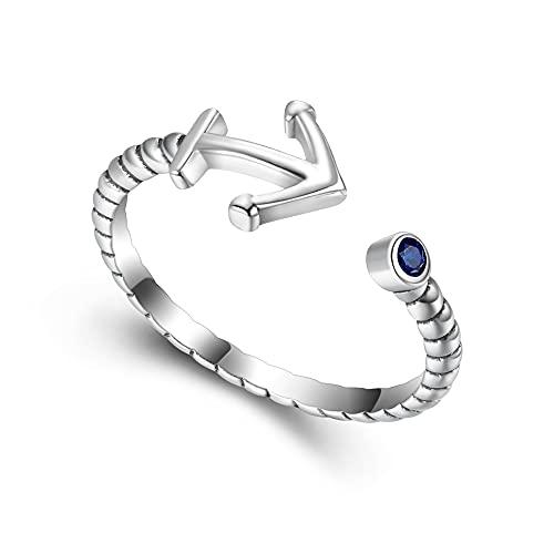 EVER FAITH Anillo de ancla para mujer y niña, plata de ley 925, circonita azul, anillo abierto ajustable